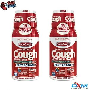 RoboCough™ Pack of 2 Bottles, 450mg DXM Per Bottle - BERRY Flavor!
