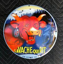 """VINTAGE LA VACHE QUI RIT LAUGHING CHEESE COW 12"""" CONVEX PORCELAIN ENAMEL SIGN"""