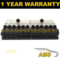 NEW 12 WAY UNIVERSAL STANDARD 12V 12 VOLT ATC BLADE FUSE BOX / COVER KIT CAR