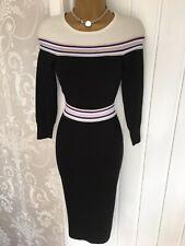 KAREN MILLEN Striped Fine Knit Bodycon Skinny Fit Stretch Midi Dress Sz U.K. 8