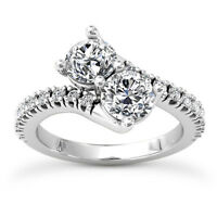 Solitaire 1.82 Carat VS2/H Round Diamond Real Engagement Ring White Gold