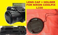 FRONT SNAP-ON LENS CAP  DIRECTLY TO CAMERA NIKON COOLPIX L330 L 330 +HOLDER