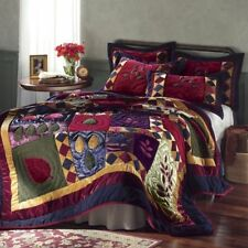 Queen Size Cozy Velvet Fleece and Satin Quilt + 2Shams Burgundy Gold Navy & Sage