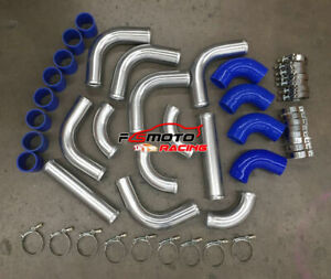 """3"""" 76mm Universal Aluminum Intercooler Turbo Pipe piping Kit+ Blue Hose+ Clamps"""