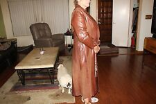 Vintage Brown Soft Leather Trench Coat Jacket Women's Skin Gear SIZE 8 M