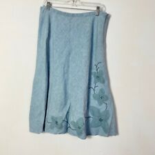 J. Jill Women's Blue 100% Linen Floral Embroidered Zip Up Skirt Size Medium