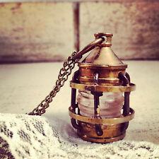 Vintage Style Lantern Pendant Charm Necklace Antique Brass Bronze Nautical