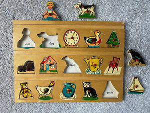 Vintage Simplex Wooden Puzzle Made in Holland Pet Doll Animals w/ Pegs 15 Pieces
