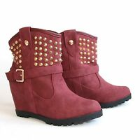Damen Stiefeletten 38 Rot Versteckter Keilabsatz Wedges Boots Stiefel H197