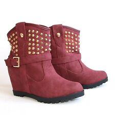 Stiefeletten 39 Rot Versteckter Keilabsatz Nieten Damenschuhe Boots Stiefel H197