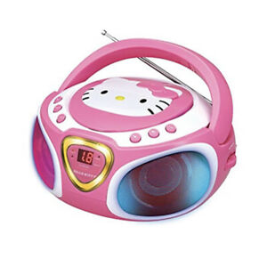 Hello Kitty Portable Stereo CD Boombox with AM/FM Radio, Speaker LED Lights AUX