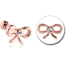 NEW Rose Gold PVD Surgical Steel Tragus Micro Barbell Bow Free Delivery