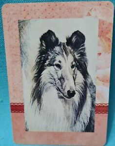 Cute Dog swap card, 1980s Vintage.Wide Playing Back. Excellent cond