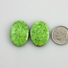 Natural Green Gaspeite Pair Cabochons Gemstones Cabs Gems