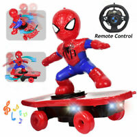 Electric Spiderman Skateboard Stunt Scooter Kids Toy Light Music Remote Control