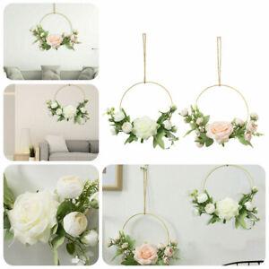 Spring Artificial Rose Flower Wreath Door Window Wall Hanging Garland Decor DIY