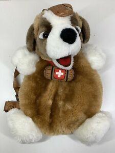 "Cotfer Geneve Swiss Collection 13"" Plush St Bernard Dog Bag Backpack RARE VGC"