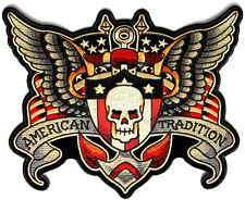 American Tradition Skull Wings Patch Patch 10x8 inch BACK PATCH
