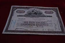 Certificado de acciones Columbia británica Power Corporation Limited