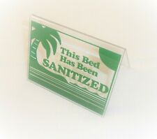 """This Bed Has Been Sanitized Acrylic Tent Sign 3.5 x 4.5"""" Green"""