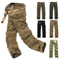 Mens Army Cargo Camo Combat Military Work Trousers Camouflage Pants Multi Pocket