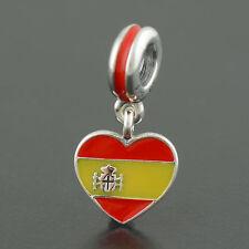 Genuino PANDORA España Bandera encanto colgante de corazón #791550 ENMX