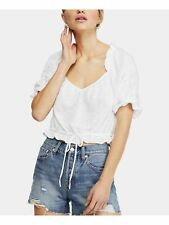 FREE PEOPLE Womens Ivory Ruffled Short Sleeve Scoop Neck Top Size: M