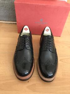 Grenson Archie Black Leather   Commando Brogue Shoe Uk 8,RRP£305
