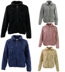 FIL Women's Sherpa Jacket Fleece Winter Warm Soft Teddy Casual Coat Zip Up