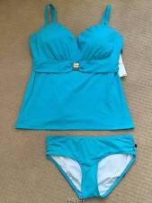 Sassy Coco Reef Sea Blue Swimsuit Tankini 38F  Top & XL  Bottoms