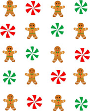 Christmas Gingerbread Men & Candy  Waterslide  / Water Transfer Nail Decals