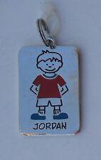 Jordan boy NAME CHARM dog tag pendant zipper pull key chain flair