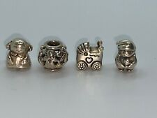 FAMILY FOREVER PANDORA Silver/14K Mom~Dad~Kids~Heart Charm/Beads - 4 Beads Total