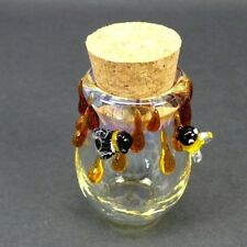 3D Honey Bee Glass Jar Hand Blown Fitted Cork Collectible Trinket Container Jug