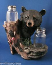 Black Bear Salt & Pepper Shaker Holder Rustic Polyresin Kitchen Dining Wildlife
