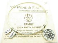 Wind & Fire Family Tree Charm Silver Wire Bangle Stackable Bracelet USA Gift New