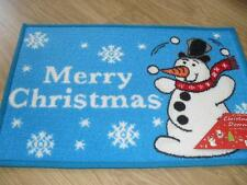 New Christmas Xmas Festive Snow Man Merry Christmas blue novelty door mat rug