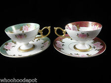 Vintage SAJI Fine China Teacup Cup and Saucer Pair  Pink Flowers