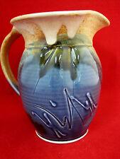Cloudcroft Pottery Stoneware Pitcher Creamer Artist Signed Blue Tan Glazed