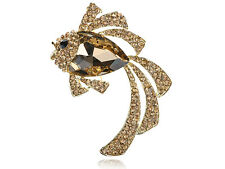 Light Smoked Topaz Crystal Rhinestone Gold Tone Ocean Fish Animal Pin Brooch
