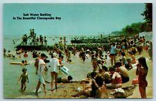 Postcard MD Pasadena Kurtz Pleasure Beach Chesapeake Bay Beach Scene c1950s X2
