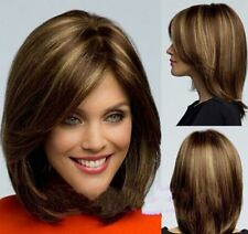 Fashion Bob style women Synthetic Short Straight Brown Mix hair Full Wigs + cap