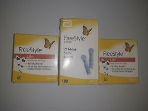 New 200 total FREESTYLE LITE TEST STRIPS 100 + 100Lancets expires 04/2022  Great