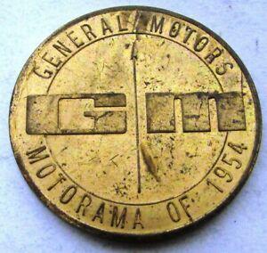 1954 General Motors Motorama Show Coin Token Brass GM Chevy Pontiac Cadillac 54