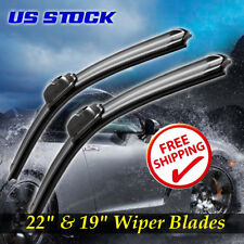 "New 22"" + 19"" Premium Bracketless Windshield Wiper Blade J-Hook Pair All Season"