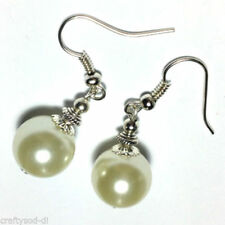 Hook Pearl Glass Silver Plated Costume Earrings