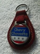 NEW NOS ORIGINAL CHEVROLET CHEVY CHEVETTE KEY CHAIN, LEATHER SUEDE FOB W/ LOGO