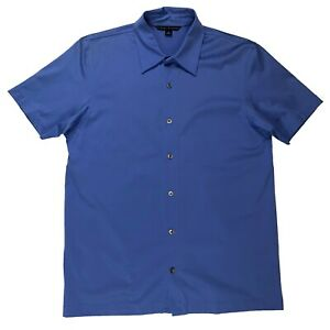 Mens Banana Republic Polo Shirt Solid Blue 100% Cotton Button Up Shirt Small S