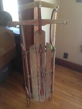 "Vintage Old Flexible Flyer Sled / Wood & Metal Snow Sledge 52"" Long"