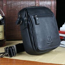 Fashion Men's Cowhide Leather One Shoulder Crossbody Bag Mini Messenger Satchel